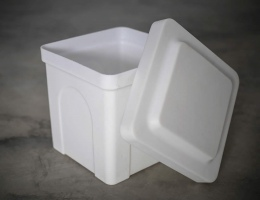"Poly Urn Vaults are available in two sizes and two colours. Shown here is the small size of 10 x 10 x 12"" in white."